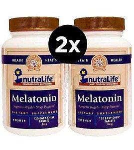 2X Melatonina, 3 mg, Nutralife,120 Comprimidos Mastigáveis