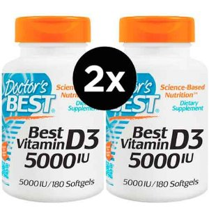 2x Vitamina D3, 5,000 IU - 180 Cápsulas - DOCTOR'S BEST