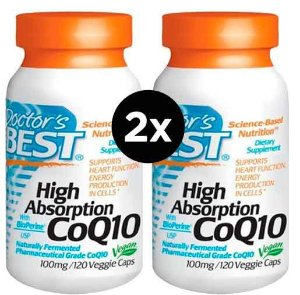 2X CoQ10 (Coenzima Q10) 100 mg com BioPerine - Doctor's BEST - 120 Cápsulas vegetarianas