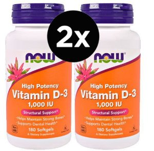 2X Vitamina D3, 1.000 IU, 180 Softgels - NOW Foods (Total de 360 capsulas)