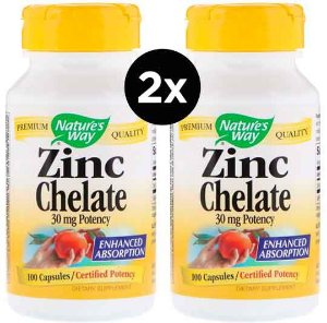 2X Quelato de Zinco, Nature's Way, 30 mg, 100 Cápsulas