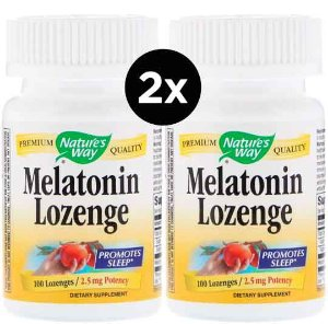 2X Melatonina de Pastilhas, Nature's Way, 2,5 mg, 100 Drágeas
