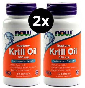 2X Óleo de Krill Neptune, Now Foods, 500 mg, 60 Softgels
