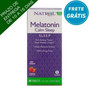Melatonina Natrol 6mg Calm Sleep + Anti-stress - 60 comprimidos sabor Morango