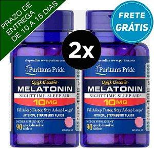 2X Melatoninas Dissolução Rápida Puritan's Pride 10mg, 90 comprimidos Sabor Morango ( TOTAL DE 180 COMPRIMIDOS )