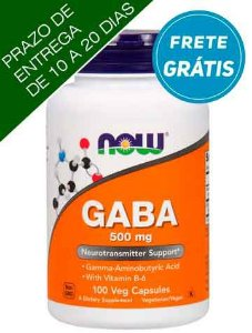 GABA, 500 mg, Now Foods, 100 Cápsulas vegetarianas