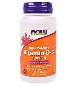 Vitamina D3, 1.000 IU, 180 Softgels - NOW Foods