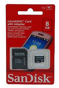 Cartão de Memória 8GB SanDisk Micro SD com Adaptador SD