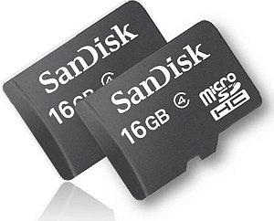 Cartão de Memória 16GB SanDisk Micro SD com Adaptador SD