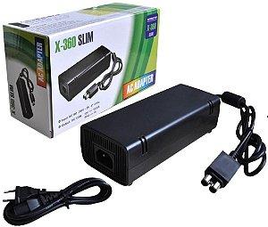 Fonte para Xbox 360 Slim Bivolt 110v 220v 135W AC com cabo de força 1ª Linha