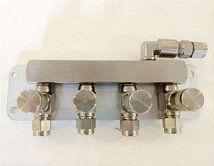 Regua Manifold com 4 vias para regulador de Chopp