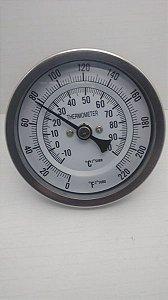 Termometro Bimetalico Inox para panela ou linha cervejeira rosca 1/2
