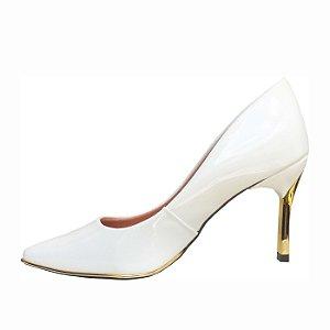 12328fcc02 Scarpin Le Bianco Maranello Salto Alto Fino Dourado Branco em Verniz zoom