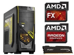 COMPUTADOR UNYGAMER AMD FX6300 / R7 370 / 8 GB / 1 TB HD / JAVA AMARELO.