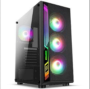 Gabinete Gamer liketec Dex RGB, Mid Tower, Com 3 Fans, Vidro Temperado, Black, S-Fonte