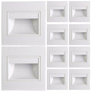 Balizador Led Embutir Escada Parede Hall Bivolt 1.5 Watt Branco Quente Kit 10 Unidades