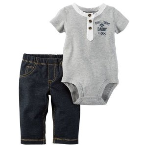 Roupas de Bebe Carters Cj 2pçs Body Cinza Calça tipo jeans 4d5506a5072