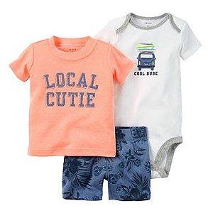 Roupas de Bebe Carters Cj 3pç Body Shorts Camiseta Dude deb73e4a285