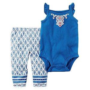 Roupas de Bebe Carters Cj 2pç Calça Azul Body Azul Regata c8d776d738f