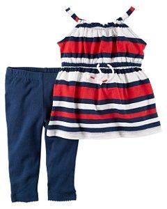 Roupas de Bebe Carters Cj 2pç Blusa Listras Calça azul 44a6eecd095