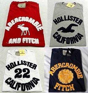 Camisetas bordadas Hollister e Abercrombie
