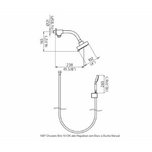 Chuveiro Slim 10 Cm Com Ducha Manual Jet-Flex Perflex