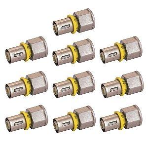 Kit 10 unidades Conector 20 X 1/2 (F) Tudogás