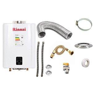 Aquecedor a Gás Rinnai REU E17 GLP Branco+Kit de Instalação