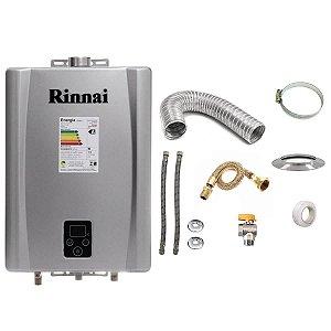Aquecedor a Gás Rinnai REU E17 GLP Prata+Kit de Instalação