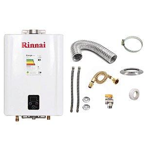 Aquecedor a Gás GN Rinnai REU E21 Branco+Kit de Instalação