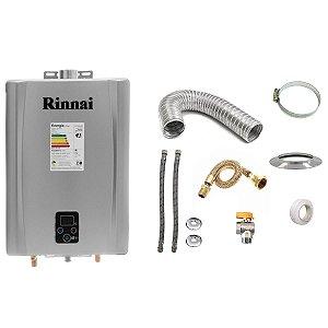 Aquecedor a Gás Rinnai REU E21 GLP Prata+Kit de Instalação