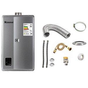 Aquecedor a Gás Rinnai REU E270 GLP Prata+Kit de Instalação