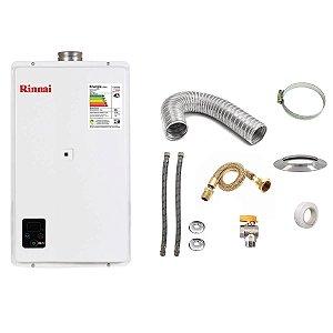 Aquecedor a Gás Rinnai REU E270 GN Branco+Kit de Instalação