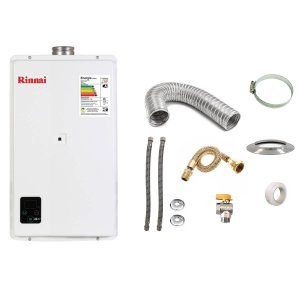 Aquecedor a Gás GLP Rinnai REU E270 Branco+Kit de Instalação