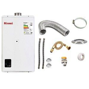 Aquecedor a Gás GLP Rinnai REU E33 Branco+Kit de Instalação