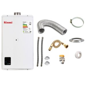 Aquecedor a Gás GN Rinnai REU E33 Branco+Kit de Instalação