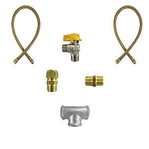 Kit Instalação de Gás para Dois Equipamentos com Uma Válvula