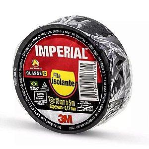 Fita Isolante Antichama 18mm x 5m Imperial Slim Preta 3M