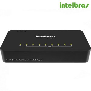 Switch 8 Portas Intelbras Fast Ethernet Poe Passivo QoS 10/100 Mbps SF 800 Q+