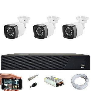 Kit Cftv 3 Cameras Hd 720p Infravermelho 30m + Dvr 4 Canais Multi Hd Sem HD