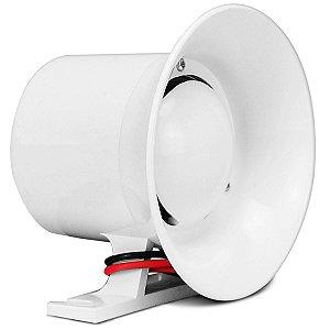 Sirene 12V Alta Potência Alarme e Cerca Elétrica ECP 120dB Branca