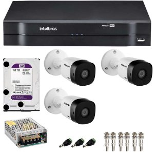 Kit 3 Cameras Intelbras 1120 B + Dvr Mhdx 1104 + HD 2TB Purple