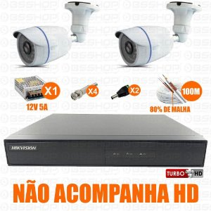 Kit Cftv 4 Cameras Hd 720p Infra 30m + Dvr 4ch Hikvision Turbo HD Ds-7204hghi-f1 - Sem Hd
