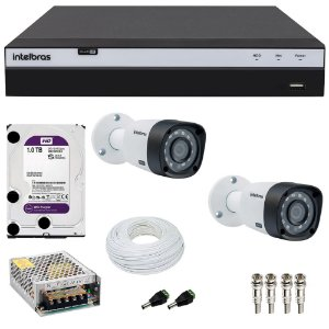 Kit Cftv 2 Cameras Intelbras Full HD 1080p VHD 1220b G4 + Dvr 4 Canais Intelbras Full HD 1080p MHDX 3104 com HD 1TB Purple