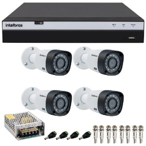 Kit Cftv 4 Cameras Intelbras Full HD 1080p Ir 20m VHD 1220b G4 + Dvr 4 Canais Intelbras Full HD 1080p MHDX 3104
