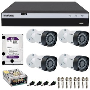 Kit Cftv 4 Cameras Intelbras Full HD 1080p VHD 1220b G4 + Dvr 4 Canais Intelbras Full HD 1080p MHDX 3104 com HD 1TB Purple