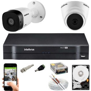 Kit 2 Cameras Intelbras 1010 + Dvr 4ch Mhdx 1104 + HD 500GB
