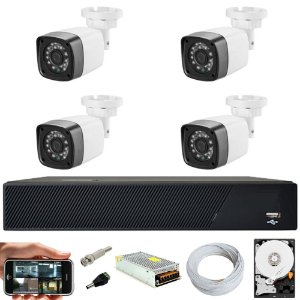 Kit Cftv 4 Cameras Hd 720p Infravermelho 30m + Dvr 4 Canais Multi Hd Com HD 320GB