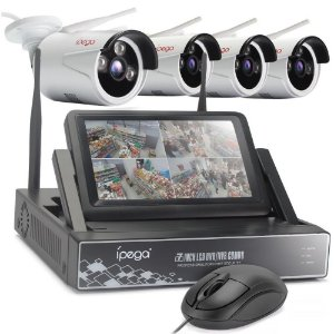 "Kit 4 Cameras Ip Wifi Ext HD 720P Infra 30m + Nvr Wireless 4 Canais Sem Fio com Monitor 7"" acoplado P2P Com HD 1TB"