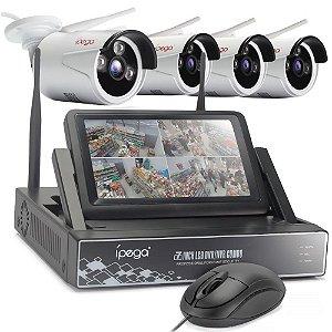 """Kit 4 Cameras Ip Wifi Ext HD 720P Infra 30m + Nvr Wireless 4 Canais Sem Fio com Monitor 7"""" acoplado P2P Com HD 2TB"""